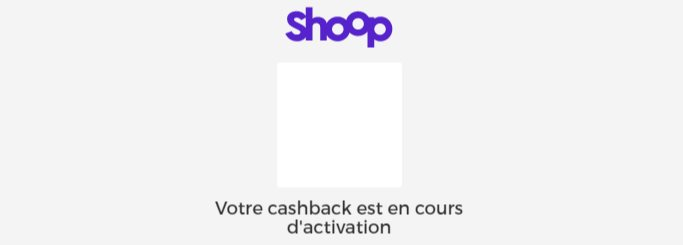Activation du cashback Shoop